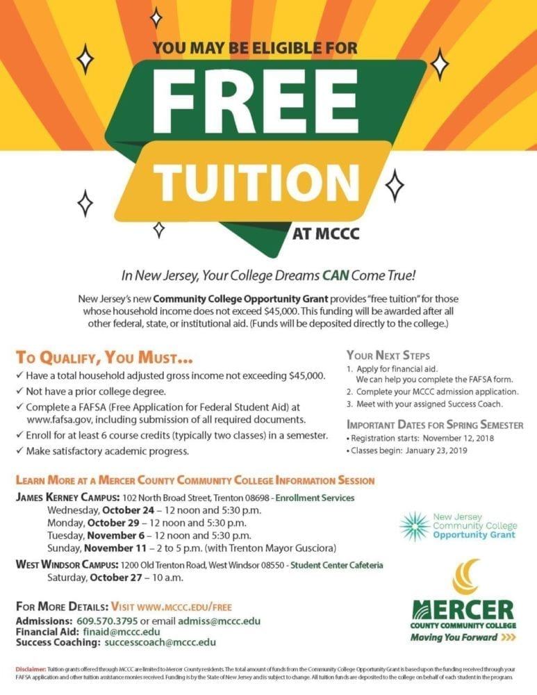 MCCC Hosting Adds Additional Information Session on Free Tuition